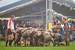 The forward packs go pack down in a scrum under the watchful gaze of referee Nigel Bradley, halfbacks Kaino Kaino and Marty Robson, infront of the large crowd sheltering on the clubroom veranda. Counties Manukau Premier Club Rugby game between Patumahoe and Bombay played at the Patumahoe Domain on Saturday June 4th 2011 as part of the Patumahoe 125th Anniversary celebrations. Patumahoe won 24 - 3 after leading 5 - 3 at halftime.