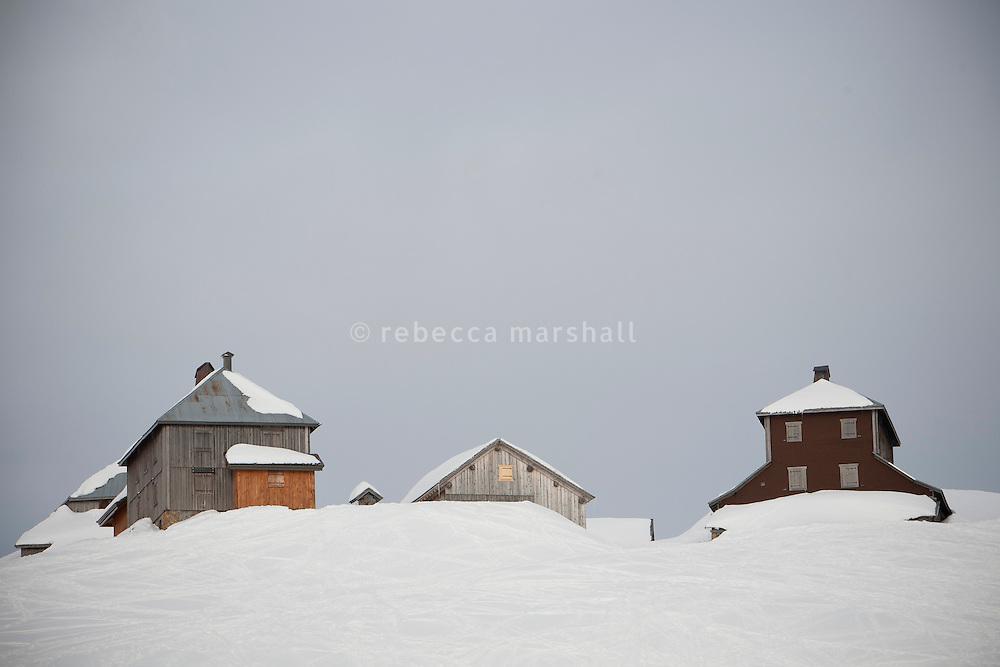 Snow-covered chalets on the Col des Annes, next to 'La Duche' ski run, Le Grand Bornand, France, 14 February 2012.