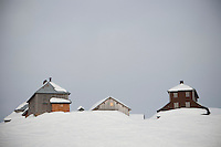 Snow-covered chalets on the Col des Annes, next to 'La Duche' ski run, Le Grand Bornand, France, 14 February 2012.