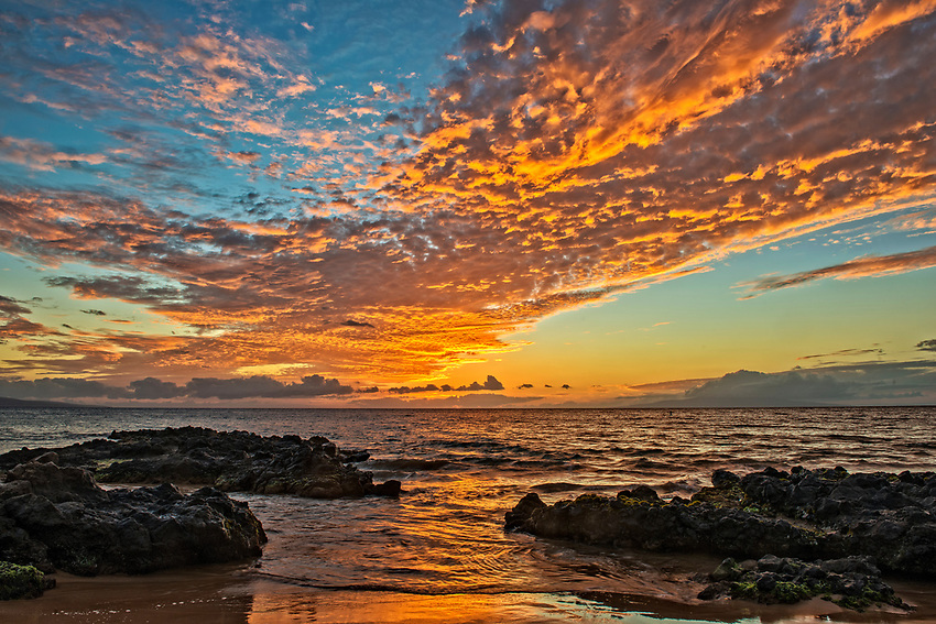 A sunset seen from Kamaole Beach Park III in Kihei, Maui.