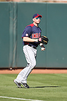 Jordan Brown of the Cleveland Indians plays against the Oakland Athletics in a spring training game at Phoenix Municipal Stadium on March 2, 2011  in Phoenix, Arizona. .Photo by:  Bill Mitchell/Four Seam Images.