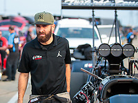 May 31, 2019; Joliet, IL, USA; NHRA top fuel driver Dom Lagana during qualifying for the Route 66 Nationals at Route 66 Raceway. Mandatory Credit: Mark J. Rebilas-USA TODAY Sports