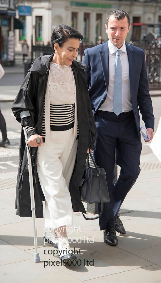 Pic shows:  Janan Harb arrives at the High Court today.<br /> <br /> 17.5.16<br />  <br /> Janan Harb -v- HRH Prince Abdul Aziz Bin Fahd Bin Abdul Aziz.<br /> <br /> A woman who says she was the secret wife of the late King Fahd of Saudi Arabia at the high court in London for a multimillion-pound payout to honour a promise that she would be looked after for the rest of her life.<br /> <br /> At a previous hearing - A judge ruled that Palestinian-born Janan Harb, 68, was entitled to more than £15m plus the value of two expensive London properties.<br /> <br /> The judge said her claim was credible. Harb told the court she had secretly married the king in 1968 when she was 19 and he was still a prince and his country's minister of the interior.<br /> <br /> Harb said Prince Abdul Aziz, the son of another wife of the king, met her at the Dorchester hotel in London on 20 June 2003 when the king was seriously ill.<br /> <br /> <br /> <br /> Pic by Gavin Rodgers/Pixel 8000 Ltd