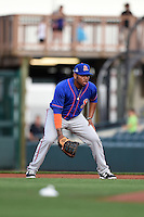 St. Lucie Mets first baseman Dominic Smith (22) during a game against the Bradenton Marauders on April 11, 2015 at McKechnie Field in Bradenton, Florida.  St. Lucie defeated Bradenton 3-2.  (Mike Janes/Four Seam Images)