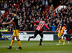 Leon Clarke of Sheffield Utd celebrates scoring the first goal during the English League One match at Bramall Lane Stadium, Sheffield. Picture date: April 17th 2017. Pic credit should read: Simon Bellis/Sportimage