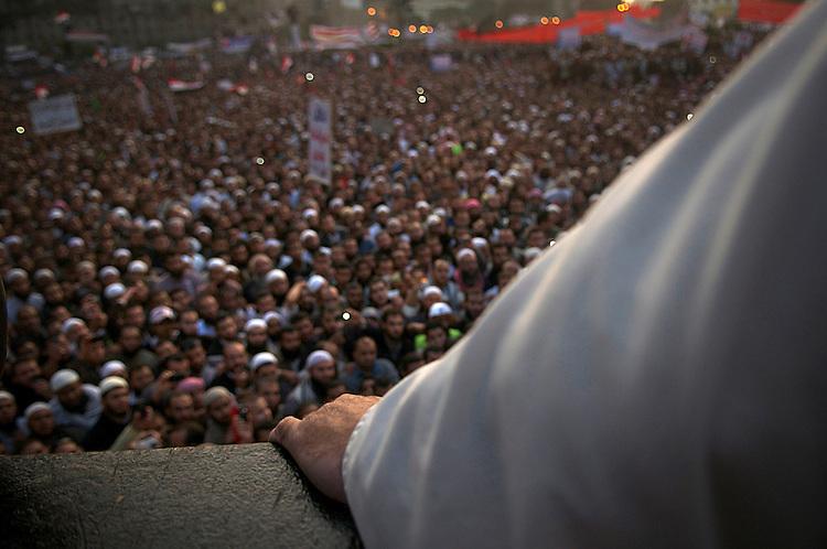 Salafist speaker in a demonstartion in Cairo. Thousands of Islamist and secular protesters gathered in Cairo's Tahrir Square today for a mass rally to press the ruling military to hand over power to a civilian government.
