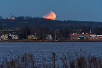 Partial Lunar Eclipse as seen from East Shore Park and viewed over New Haven Harbor on January 31, 2018.
