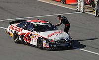 Apr 25, 2009; Talladega, AL, USA; NASCAR Nationwide Series driver David Ragan is congratulated by Dale Earnhardt Jr after winning the Aarons 312 at the Talladega Superspeedway. Mandatory Credit: Mark J. Rebilas-