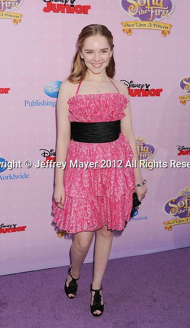 """BURBANK, CA - NOVEMBER 10: Darcy Rose Byrnes arrives at the Disney Channel's Premiere Party For """"Sofia The First: Once Upon A Princess"""" at the Walt Disney Studios on November 10, 2012 in Burbank, California."""