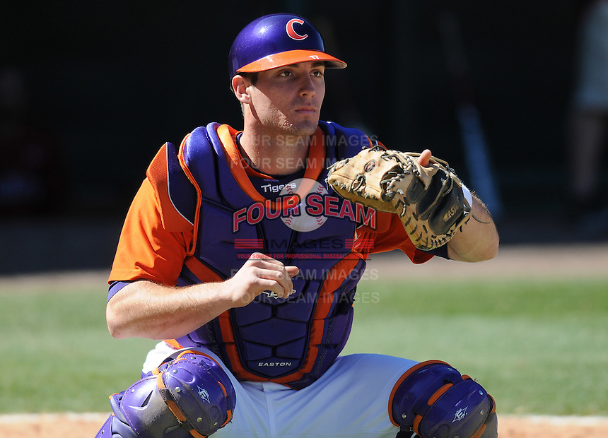Clemson catcher John Nester (17) prior to a game between the Clemson Tigers and South Carolina Gamecocks Saturday, March 6, 2010, at Fluor Field at the West End in Greenville, S.C. Photo by: Tom Priddy/Four Seam Images
