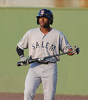 Outfielder Jackie Bradley Jr. (16) of the Salem Red Sox, a Boston Red Sox affiliate, in a game against the Potomac Nationals on June 8, 2012, at Pfitzner Stadium in Woodbridge, Virginia. Potomac won the first game of a doubleheader, 5-4. Bradley is the No. 10 Boston prospect, according to Baseball America. (Tom Priddy/Four Seam Images)