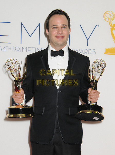 Danny Strong.64th Primetime Emmy Awards - press room - held at Nokia Theatre L.A. LIVE, Los Angeles, California, USA..23rd September 2012.pressroom emmys half length trophy winner black  tie white shirt tuxedo bow trophies .CAP/ADM/BP.©Byron Purvis/AdMedia/Capital Pictures.
