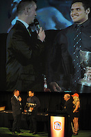 Mark Stafford chats with Ken Comber Memorial Cup winner Donald Brighouse at the Wellington Rugby Union Tui Awards at the Embassy Theatre, Wellington, New Zealand on Tuesday, 30 October 2012. Photo: Dave Lintott / lintottphoto.co.nz