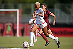 15 October 2016: NC State's Tziarra King (2) and Florida State's Olivia Bergau (behind). The North Carolina State University Wolfpack hosted the Florida State University Seminoles at Dail Soccer Field in Raleigh, North Carolina in a 2016 NCAA Division I Women's Soccer match. FSU won the game 1-0.