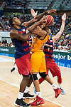 Herbalife Gran Canaria's player Eulis Baez and FC Barcelona Lassa player Joey Dorsey and Pau Ribas during the final of Supercopa of Liga Endesa Madrid. September 24, Spain. 2016. (ALTERPHOTOS/BorjaB.Hojas)