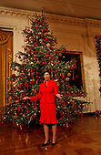 "First lady Laura Bush gives a press preview of the 2002 White House Christmas decorations in Washington, DC on 5 December, 2002.  The theme for 2002 is ""All Creatures Great and Small"" which celebrates First Family pets over the years.<br /> Credit: Ron Sachs / CNP"