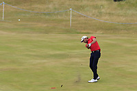 Benjamin Hebert (FRA) plays his 2nd shot on the 18th hole during Saturday's Round 3 of the 2018 Dubai Duty Free Irish Open, held at Ballyliffin Golf Club, Ireland. 7th July 2018.<br /> Picture: Eoin Clarke | Golffile<br /> <br /> <br /> All photos usage must carry mandatory copyright credit (&copy; Golffile | Eoin Clarke)