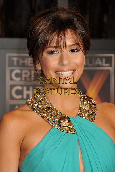 EVA LONGORIA PARKER .14th Annual Critics Choice Awards at the Santa Monica Civic Auditorium, Santa Monica, California, USA..January 8th, 2009.headshot portrait blue turquoise green gold beads beaded jewel encrusted .CAP/ADM/BP.©Byron Purvis/AdMedia/Capital Pictures.
