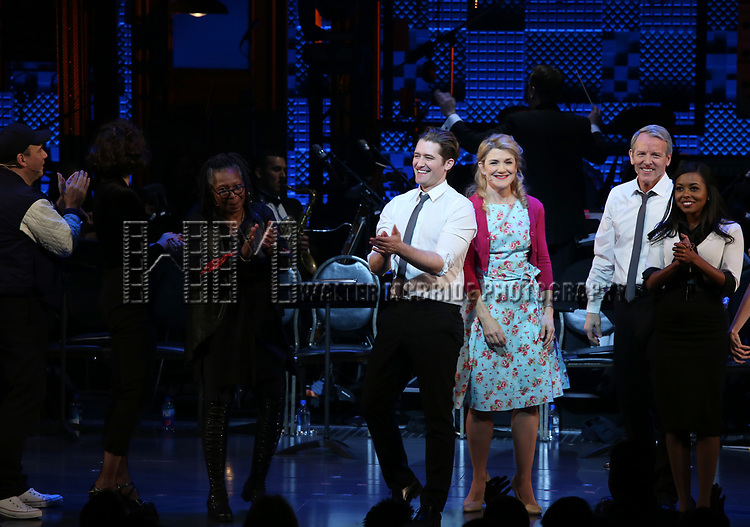 Reggie Jackson, Danny Burstein, Maggie Gyllenhaal, Whoopi Goldberg, Matthew Morrison, Victoria Clark, Stephen Bogardus, Adrienne Warren during the Curtain Call for the Roundabout Theatre Company presents a One-Night Benefit Concert Reading of 'Damn Yankees' at the Stephen Sondheim Theatre on December 11, 2017 in New York City.