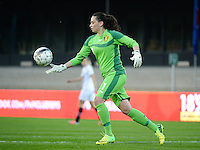 20140410 - LEUVEN , BELGIUM : Belgian Nicky Evrard pictured during the female soccer match between Belgium and Norway, on the seventh matchday in group 5 of the UEFA qualifying round to the FIFA Women World Cup in Canada 2015 at Stadion Den Dreef , Leuven . Thursday 10th April 2014 . PHOTO DAVID CATRY