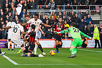 Marcus Rashford of Manchester United left scores the second and winning goal past AFC Bournemouth keeper Asmir Begovic   during AFC Bournemouth vs Manchester United, Premier League Football at the Vitality Stadium on 3rd November 2018