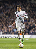 Dele Alli of Tottenham Hotspur in action during the UEFA Europa League 2nd leg match between Tottenham Hotspur and Fiorentina at White Hart Lane, London, England on 25 February 2016. Photo by Andy Rowland / Prime Media images.