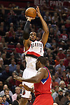 12/26/11--Trail Blazers forward LaMarcus Aldridge takes a jumpshot in the season-opener with the Philadelphia 76ers at the Rose Garden...Photo by Jaime Valdez. .........................................