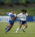 19 July 2003: Tiffany Roberts (left) and Daniela (right). The Carolina Courage defeated the San Diego Spirit 1-0 at SAS Stadium in Cary, NC in a regular season WUSA game.