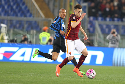 19.03.2016. Stadium Olimpico, Rome, Italy.  Serie A football league. AS Roma versus Inter Milan. El Shaarawy Stephan breaks into midfield