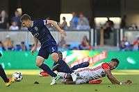 San Jose, CA - Saturday June 17, 2017: Matt Besler, Danny Hoesen during a Major League Soccer (MLS) match between the San Jose Earthquakes and the Sporting Kansas City at Avaya Stadium.