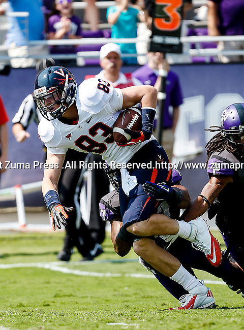 Virginia Cavaliers tight end Jake McGee (83) in action during the game between the Virginia Cavaliers and the TCU Horned Frogs  at the Amon G. Carter Stadium in Fort Worth, Texas. TCU defeats Virginia 27 to 7...