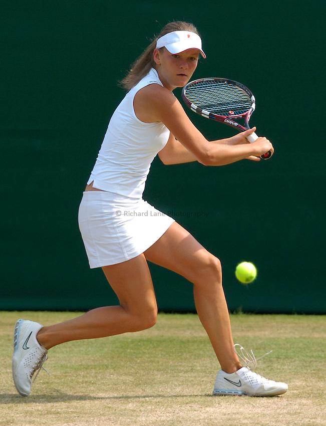 Photo: Richard Lane..Wimbledon Championships. 03/07/2006. .Agnieszka Radwansk of Poland returns.