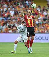 20190803 - LENS , FRANCE : Lens' Gaetan Robail (R) and Guingamp's Jeremy Mellot (L) pictured during the soccer match between Racing Club de LENS and En Avant Guingamp , on the second matchday in the French Dominos pizza Ligue 2 at the Stade Bollaert Delelis stadium , Lens . Saturday 3 th August 2019 . PHOTO DIRK VUYLSTEKE | SPORTPIX.BE