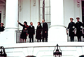 United States President Gerald R. Ford, right and first lady Betty Ford, center right, welcome Prime Minister Yitzhak Rabin, center left, and Leah Rabin on the South Portico of the White House in Washington,DC where the Rabins were welcomed for an Official Visit on January 26, 1976.<br /> Credit: Arnie Sachs / CNP