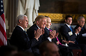 U.S. Vice President Mike Pence, U.S. President Donald Trump, and former Senator Bob Dole during a congressional Gold Medal ceremony for Dole, in Washington D.C., U.S., on Wednesday, Jan. 17, 2018. Photographer: Al Drago/Bloomberg<br /> Credit: Al Drago / Pool via CNP