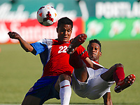 Costa Rica's Jairo Arrieta (22) fights for the ball with Cuba's Renay Malblanche during their CONCACAF Gold Cup soccer match in Portland, Oregon July 9, 2013. REUTERS/Steve Dipaola (UNITED STATES - Tags: SPORT SOCCER)