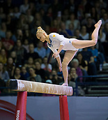 22nd March 2018, Arena Birmingham, Birmingham, England; Gymnastics World Cup, day two, womens competition; Angelina Melnikova (RUS) losing her balance on the Balance Beam during her competition routine