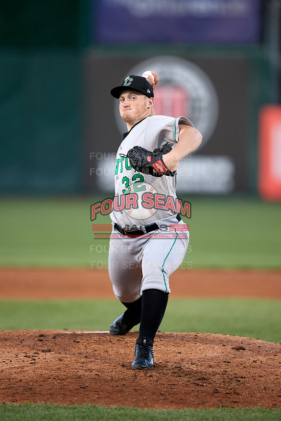 Clinton LumberKings starting pitcher Ljay Newsome (32) delivers a pitch during a game against the South Bend Cubs on May 5, 2017 at Four Winds Field in South Bend, Indiana.  South Bend defeated Clinton 7-6 in nineteen innings.  (Mike Janes/Four Seam Images)
