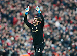 Alisson Becker of Liverpool celebrates their second goal before being sent off in the game during the Premier League match at Anfield, Liverpool. Picture date: 30th November 2019. Picture credit should read: Simon Bellis/Sportimage