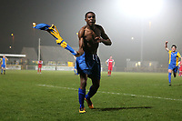 Ernest Okoh of Romford scores the third goal for his team and celebrates during Romford vs Norwich United, Bostik League Division 1 North Football at Ship Lane on 11th April 2018