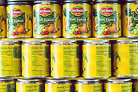 Cans of Del Monte fruit cocktail showing the nutritional label in the 23rd annual Canstruction Design Competition in New York, seen on Friday, November 6, 2015, on display in Brookfield Place in Lower Manhattan. Architecture and design firm participate to design and build giant structures made from cans of food.  The cans are donated to City Harvest at the close of the exhibit. Over 100,000 cans of food were collected and will be used to feed the needy at 500 soup kitchens and food pantries. (© Richard B. Levine)