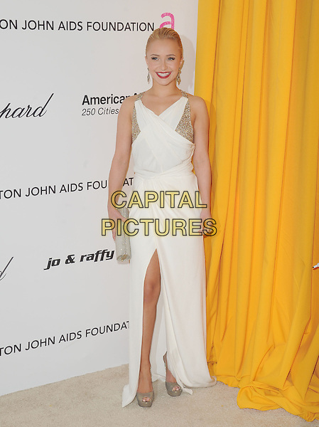 HAYDEN PANETTIERE.at the 19th Annual Elton John AIDS Foundation Academy Awards Viewing Party held at The Pacific Design Center Outdoor Plaza in West Hollywood, California, USA, February 27th 2011..oscars full length white dress gold slit split clutch bag shoes peep toe platform long maxi                                    .CAP/RKE/DVS.©DVS/RockinExposures/Capital Pictures.