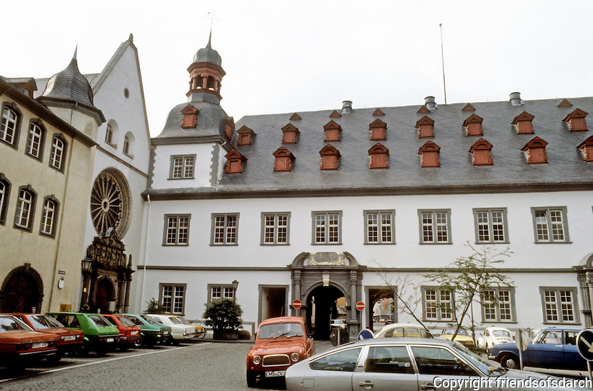 Koblenz: 17th century Jesuit College. Architect J.C. Sabastiani, 1694-1698. Now serves as Town Hall. Baroque style.