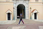 A lone sentry patrols in front of the entrance to the Prince's Palace of Monaco, the official residence of the Prince of Monaco, currently Prince Albert II, in Monaco on Monday, October 21, 2013.<br /> Credit: Ron Sachs / CNP