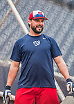 15 August 2017: Washington Nationals pitcher Tanner Roark concludes batting practice prior to a game against the Los Angeles Angels at Nationals Park in Washington, DC. The Nationals defeated the Angels 3-1 in the first game of their 2-game series. Mandatory Credit: Ed Wolfstein Photo *** RAW (NEF) Image File Available ***