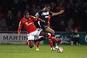 Chuks Aneke of Crewe tackles Darius Charles of Stevenage. Crewe Alexandra v Stevenage - npower League 1 - The Alexandra Stadium, Gresty Road, Crewe - 5th January, 2013. © Kevin Coleman 2013.