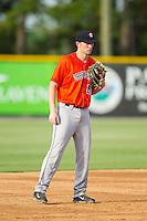Greeneville Astros third baseman Connor Goedert (20) on defense against the Burlington Royals at Burlington Athletic Park on June 29, 2014 in Burlington, North Carolina.  The Royals defeated the Astros 11-0. (Brian Westerholt/Four Seam Images)