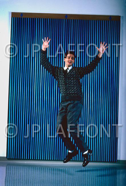 New York City, NY, USA, February 26, 1987 - Michael Schwartz at his art warehouse in Long Island City.