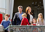 16-04-2014 Balcony 74th birthday of the Danish Queen at Marselisborg Castle in Aarhus.<br /> Prince Frederik and Princess Mary and Prince Christian and Princess Isabella and Prince Vincent and Princess Josephine.<br /> <br /> <br /> Credit: PPE/face to face<br /> - No Rights for Netherlands -