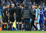 Josep Guardiola manager of Manchester City pulls his players away from referee Anthony Taylor during the Premier League match at the Etihad Stadium, Manchester. Picture date: December 3rd, 2016. Pic Simon Bellis/Sportimage